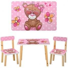 Детский стол и 2 стула Модный мишка 501-9 розовый
