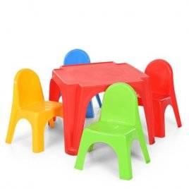 Столик и 4 стула пластиковые для детей для улицы 52-900