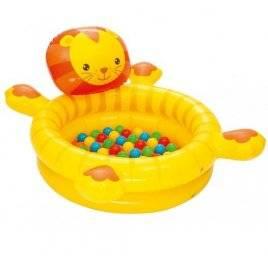 Бассейн детский с надувным дном лев+шарики BW 52261Bestway