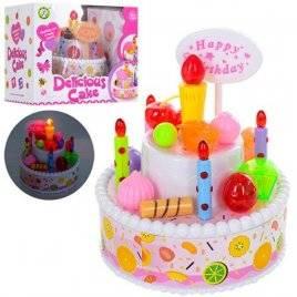 Продукты игрушечный Именинный торт со светящейся свечкой и музыкой NF588-10
