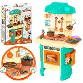 Кухня интерактивная со звуковыми и световыми эффектами+ эффект пара для мальчиков 5637 ТехноК голубая