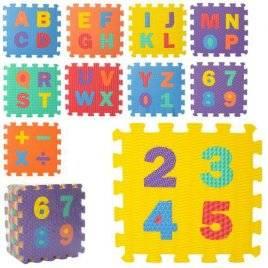 Коврик пазл   массажный мягкий текстурный Английский алфавит+Цифры M 5734
