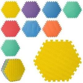 Коврик мат напольный Теплый пол мягкий шестиугольный текстурный Соты 9 деталей M 5736