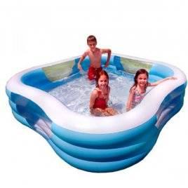 Бассейн надувной квадратный голубой 57495 Intex