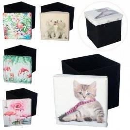 Пуф-корзина для игрушек Кошка, собачки или фламинго M 5757