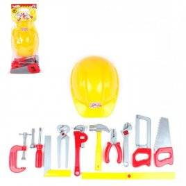 Инструменты для мальчиков детские пластиковые Меганабор с каской 5873 Технок желтые