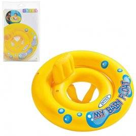 Детский надувной плотик-круг с прорезями для ног желтый 59574 Intex