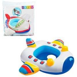 Детский надувной плотик Самолет + отверстия для ног 59586