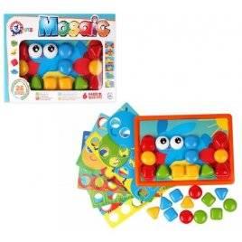 Мозаика для детей 26 фишек-кнопок + 6 специальных трафаретов 6047