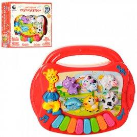 Пианино детское музыкальное красное Зоопарк CY-6051B