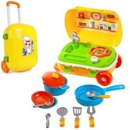 Кухня игровая в чемодане  с набором посуды на колесах 6078 ТехноК