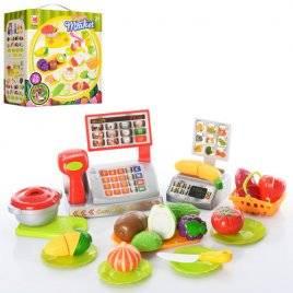 Детская касса с продуктами и посудкой 616А