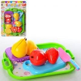 Продукты овощи на липучках с подносом и досточкой F6206