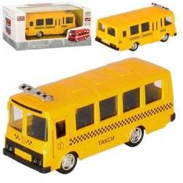 Машинка металлическая Автобус такси желтый 6523E