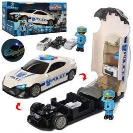 Машина-гараж Полиция белая со звуком и светом+ 3 машинки 660-A206