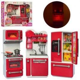 Кухня с плитой и холодильником со звуком и светом 66079