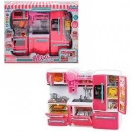 Мебель для кукол  Кухня с плитой холодильником и посудой со звуком и светом 66095