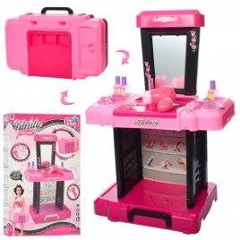Трюмо детское в чемодане розово-черное Манифик 661-122