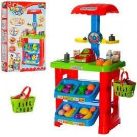 Магазин  игрушечный с прилавком, кассой, продуктами, корзиной и весами 661-79