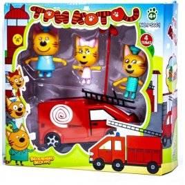 Набор 3 фигурки с пожарной машиной ПоТри кота N661