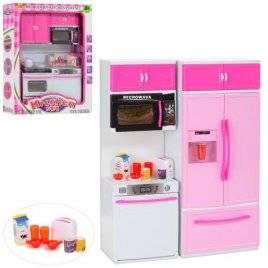 Мебель для куклы бело-розовая Кухня с продуктами и посудой 6610-9-11