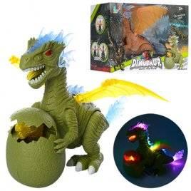 Динозавр-дракон с яйцом и дракончиком светится и ходит  6627