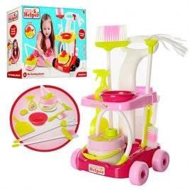 Набор для уборки с тележкой и пылесосом 667-34-36 красный и розовый