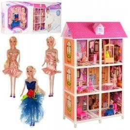 Домик для Барби 3 этажа с куклами и мебелью 66886