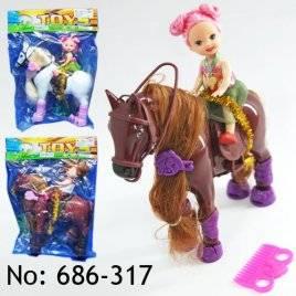 Мини кукла с лошадью 686