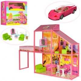 Домик для кукол Барби 2 этажа с мебелью, балконом и машинкой 6981