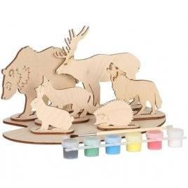 Набор для творчества деревянный с красками Дикие животные 70964 Вудмастер