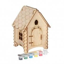 Набор для творчества деревянный с красками Лубяная избушка с мебелью 71711 Вудмастер