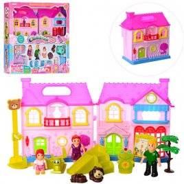 Домик для кукол с мебелью и фигурками с музыкой и светом 8110AB