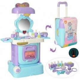 Трюмо детское мобильное в чемодане на колесах с музыкой и светом W811A голубое