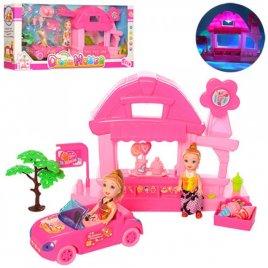 Мини куклы с магазином мороженного и машинкой 8144-3 с музыкой и светом