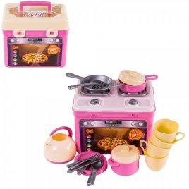 Кухня детская с посудкой в чемоданчике розовая Адель 816 Орион