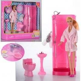 Мебель для кукол Ванная, туалет + качественная кукла аналог Барби 8215