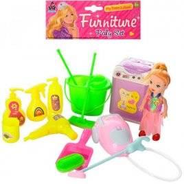 Мини кукла и набор для уборки+стиральная машина 822A