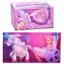 Мини кукла с каретой и лошадью 8619 мини