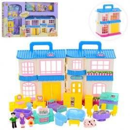 Домик для кукол с фигурками, мебелью, звуками и светом B-862 синий