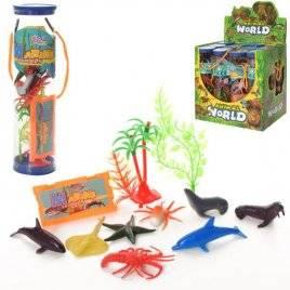 Животные морские 8 штук+деревья в колбе 866-E4