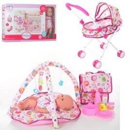 Пупс с коляской с сумкой и ковриком для младенцев 86926 в коробке