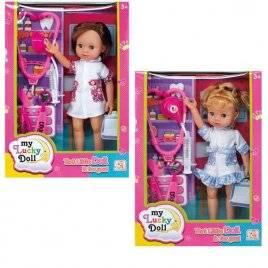 Кукла с набором доктора в белом халате 8802