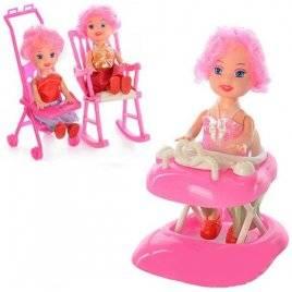Мини кукла с ходунками, креслом-качалкой или коляской 808 ABC
