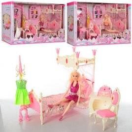 Мебель для кукол Спальня+ Кукла с аксессуарами 889-1-2-4