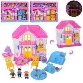 Домик для кукол с мебелью со звуком и светом + 3 фигурки WD-925ABC
