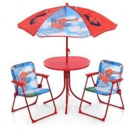 Столик летний с зонтом и раскладными стульчиками для детей Спайдермен 93-74-SP