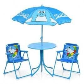 Столик летний с зонтом и раскладными стульчиками для детей Дельфины 93-74-DLF