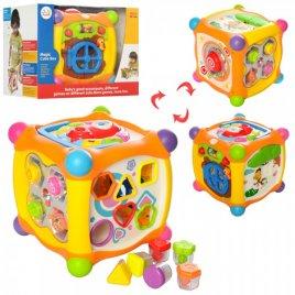 Куб  развивающая игрушка с сортером, пищалкой и трещеткой 936