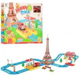 Конструктор-трек для детей с эйфелевой башней и машинкой со звуками и светом 95-31